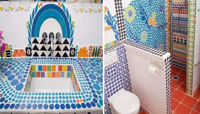 חדר האמבטיה בביתה של הילר בו אפשר להתרשם מן הפוטנציאל העיצובי העצום של האריחים שלה