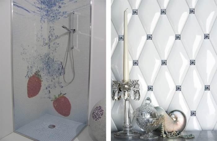 אין גבול לעיצובים. מימין: אריחים אלגנטיים בדוגמת קפיטונאז, משמאל: אריחי פסיפס המגיעים במגוון רחב של דוגמאות (צילום:יח