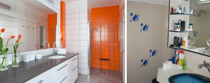 מחדר אמבטיה קטן בעיצוב מיושן, הפך החלל למרווח וגדול עם כל האלמנטים שעוזרים לילד להתנייד עם הליכון. (צילום משמאל: שי אפשטיין)