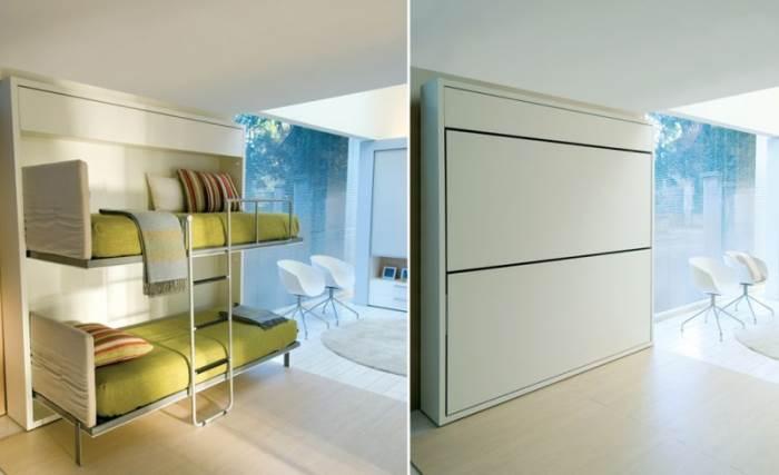 """מיטת קומתיים המתקפלת אל הקיר. הריהוט הדו תכליתי של מילאנו בדינג (צילום יח""""צ)"""