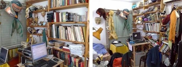 הפחיתו כמה שיותר עומסים. חדר עבודה שעבר סידור ארגון על ידי איילת גרינברג מלצאת מהבלגן (צילום:איילת גרינברג)