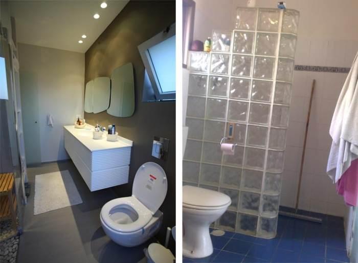מקלחון מרווח וגדול, גוונים של אפור ולבן. חדר האמבטיה של ההורים לפני ואחרי השיפוץ מקלחון (צילום: רודי אלמוג)