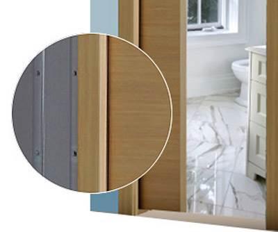 דלתות הזזה של חמדיה עשויות מסגסוגת של פלסטיק ועץ על סוגיו השונים ומתאימות במיוחד לחדרי אמבטיה, ארונות וחללים קטנים. חוסכות לכם קצת יותר ממטר רבוע בשטח החדר (צילום באדיבות דלתות חמדיה)</br>