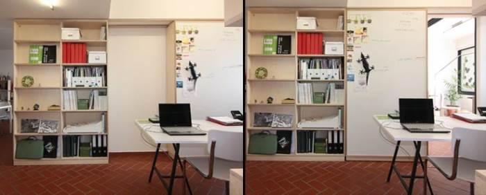 המחשבה על העתיד ועל הצרכים המשתנים הובילה לבניית ארון הזזה גדולה במקום הקיר אשר הפריד בין הסלון לחדר הסמוך לו. הארון משמש כחלק מחדר עבודה אשר יכול להיפתח לסלון או להיות סגור בפני עצמו, ובעתיד, עם בנייה של קיר אחד בלבד, הוא יכול לשמש כחדר שינה נוסף. מימין: החדר במצב פתוח לסלון, משמאל: הארון סגור והחדר עומד בפני עצמו