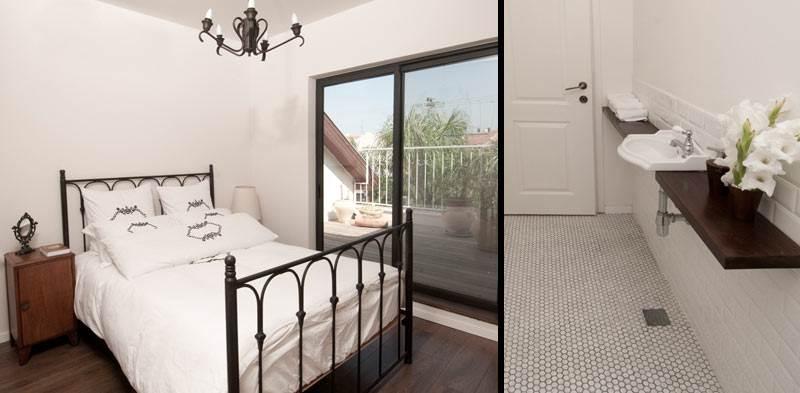 חדר השינה של הבת עם פתח היציאה למרפסת, משמאל: חדר הרחצה הפרטי