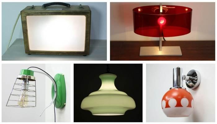 מגוון מנורות קיר, מנורות עומדות ומנורות תלייה מתקופות שונות