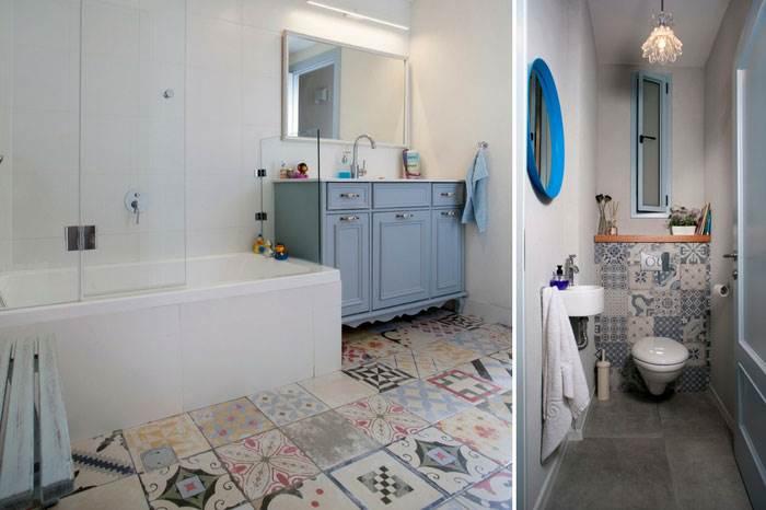 למקלחת הילדים חיפשה המעצבת רעיון שיכניס צבעוניות לחדר, אך שכזאת שלא תימאס מהר על הילדים. לכן השאירה את הקירות בגוון לבן אך השכילה ליצור דרמה בריצפה הייחודית | צילום: אדם בנימין