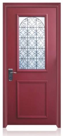 דלת כניסה אדומה מפלדה