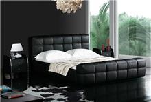 מיטת עור שחורה מעוצבת - היבואנים