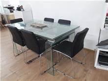 היבואנים - שולחן זכוכית + 6 כסאות