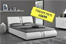 מיטה זוגית לבנה מעוצבת