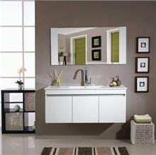 ארון אמבטיה לבן מבריק