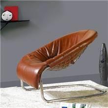 כורסת עור עגולה - כסא נדנדה