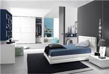 חדר שינה כחול לבן
