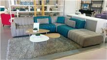 ספה פינתית משולבת בד ועור - רוזטו רהיטים - Rossetto