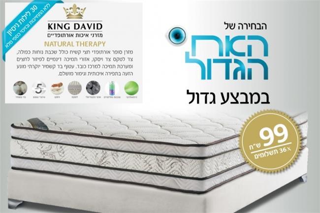 מזרן זוגי נטורל תראפי - King David - מזרונים אורטופדיים