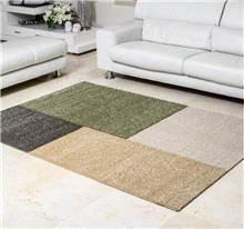 שטיח מלבנים ירוק בז'