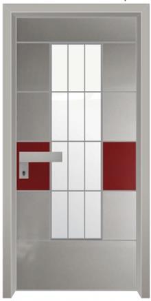 דלתות אלון - דלת כניסה הייטק אפור אדום