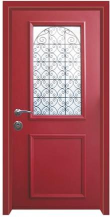 דלת כניסה פנורמי אדום - דלתות אלון