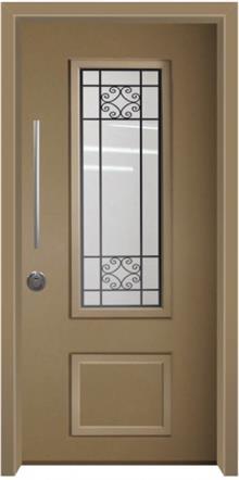 דלת כניסה פנורמי חום