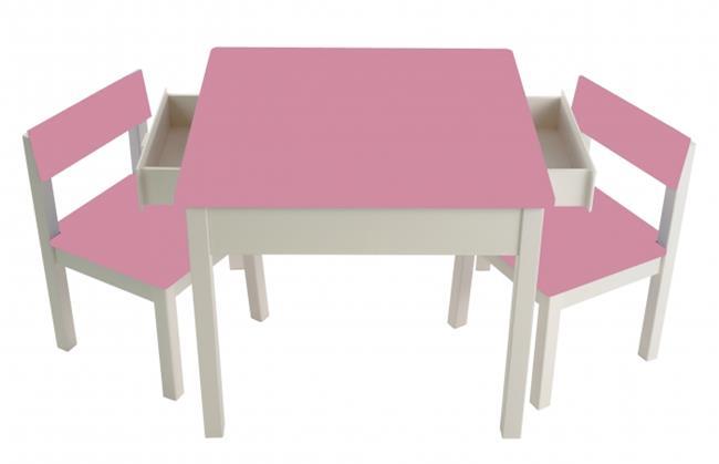 סט שולחן עם מגירות ורוד