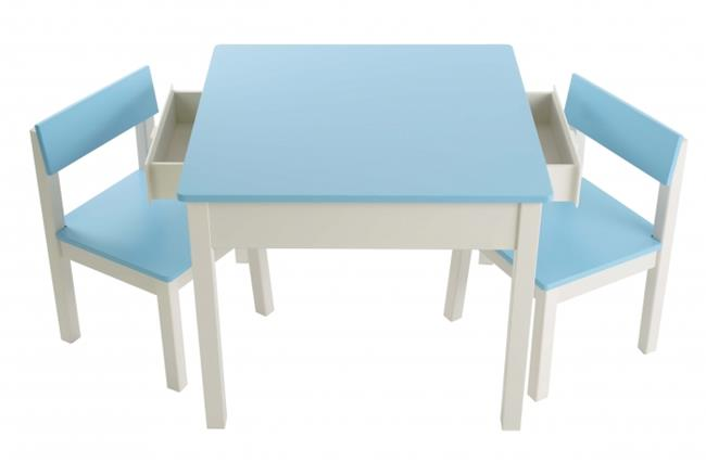 סט שולחן עם מגירות תכלת
