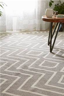 Fibers - שטיח זיגזג אפור לבן