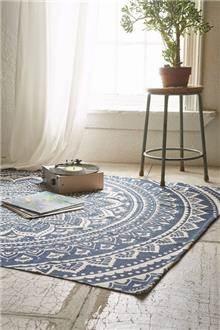 שטיח מנדלות כחול ולבן - Fibers