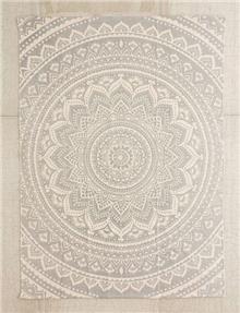 שטיח מנדלות אפור ולבן