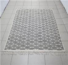 שטיח כותנה שחור שמנת - Fibers