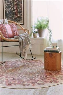 Fibers - שטיח עגול פרחוני בצבע קרם