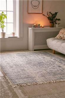 שטיח גאומטרי כחול אפור - Fibers