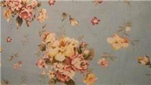בד קנבס תכלת פרחים