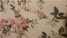 בד קנבס קרם פרחים