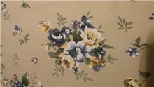 בד קנבס קרם פרחים תכלת