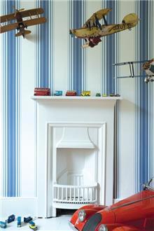 מעודד צבעים - טפט פסים כחול לבן