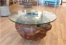 Treemium - חלומות בעץ מלא - שולחן זכוכית ועץ