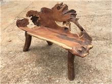 ספסל קטן שורש עץ טיק - Treemium - חלומות בעץ מלא