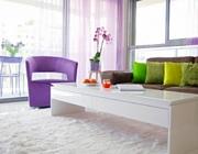 עיצוב דירה חדשה בסגול, לבן ואמבויה