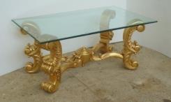 שולחן זכוכית עם רגלים מוזהבות - Treemium - חלומות בעץ מלא