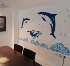 מדבקת קיר דולפינים - מטפטים