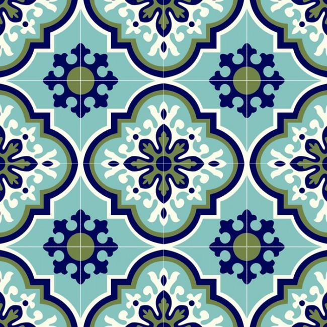 אריח פורצלן ענתיקה ירוק כחול - חלמיש
