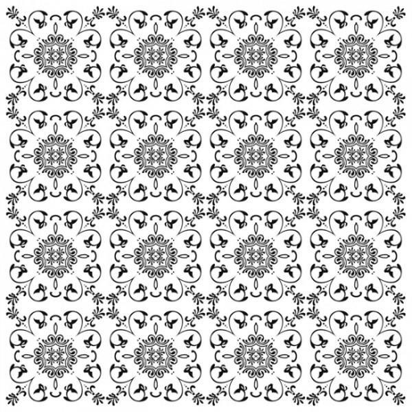 אריח פורצלן פרח ועלים שחור לבן - חלמיש