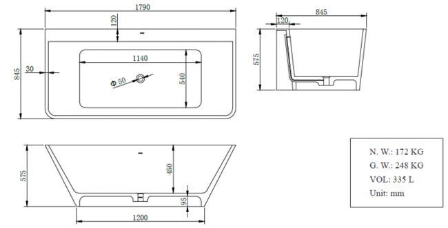 אמבטיה צמודת קיר  BT151MT - חלמיש