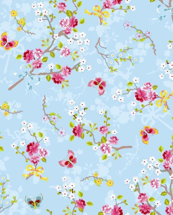 טפט פרחים ופרפרים על רקע תכלת - גולדשטיין גלרי טפט
