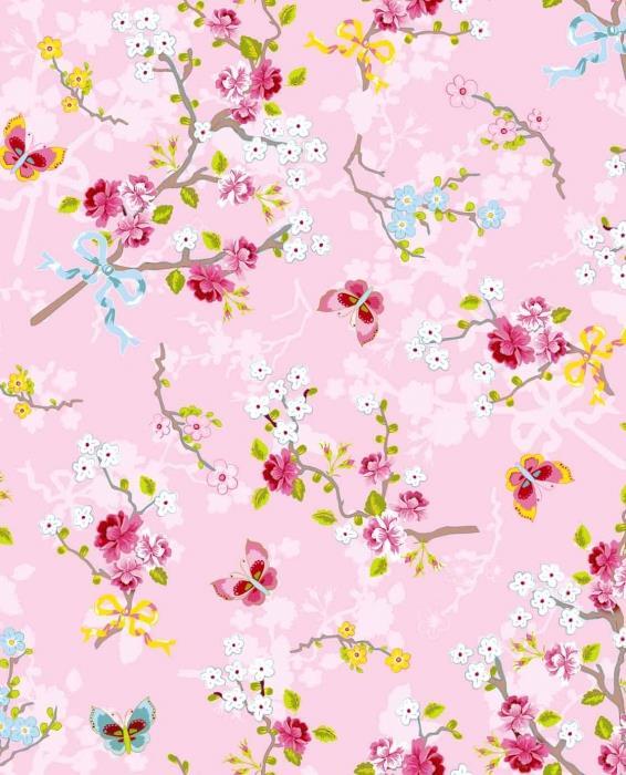 טפט פרחים ופרפרים ברקע ורוד - גולדשטיין גלרי טפט