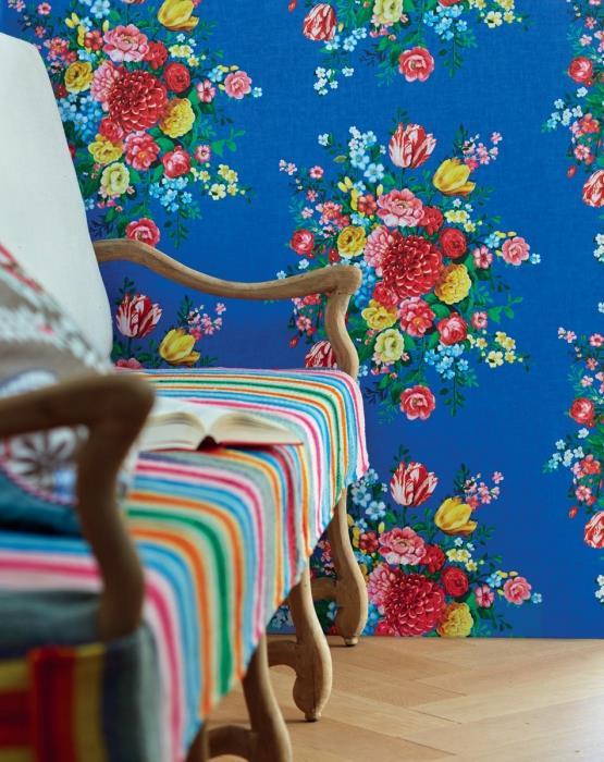 טפט פרחים כחול - גולדשטיין גלרי טפט