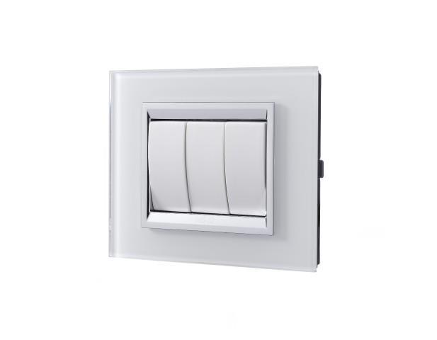 מסגרת מתג זכוכית לבנה - ניסקו NISKO
