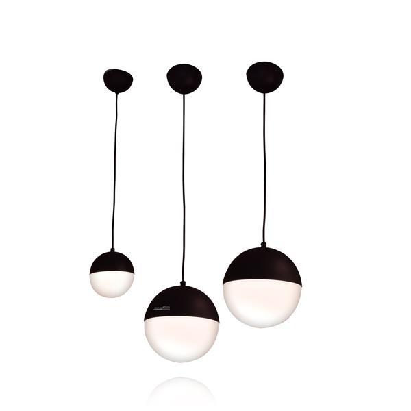 מנורת תליה כדור אופל שחור - שקע ותקע