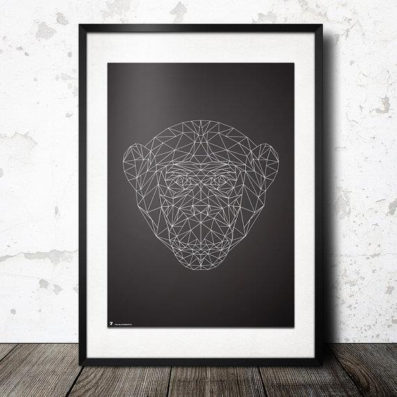 הדפס גאומטרי ראש קוף - Stola12  פוסטרים מעוצבים